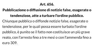 articolo 656 e fake news